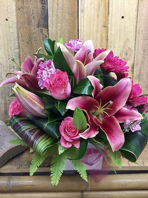 Elegant Pink Mini Box Flowers On Chevron